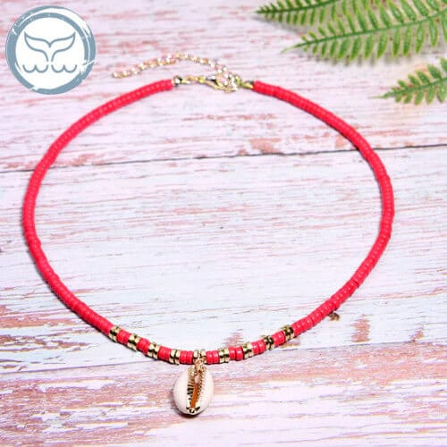Collier coquillage rouge