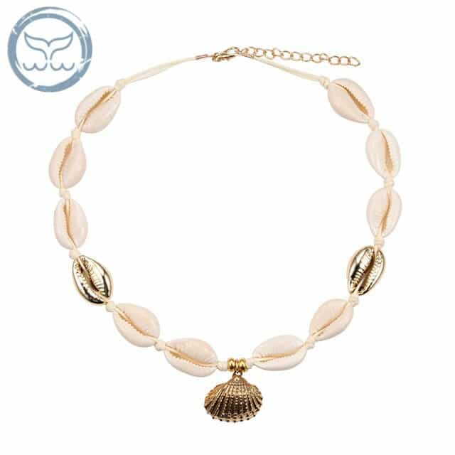 Collier Ras De Cou de Coquillages beige et or